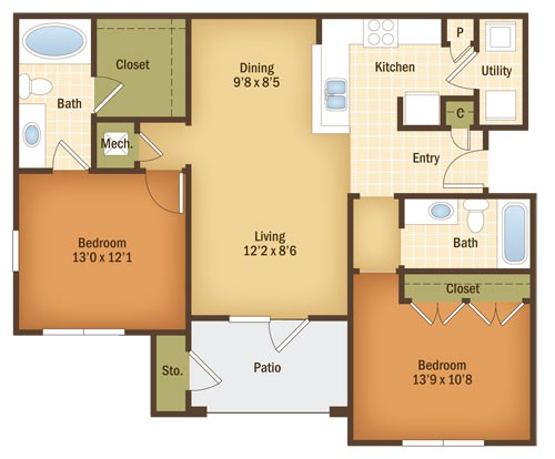 1,083 sq. ft. MAHOGANY floor plan