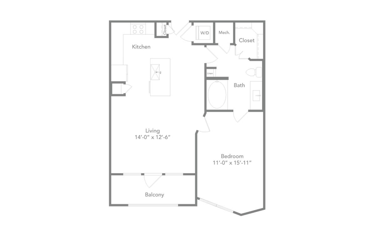 733 sq. ft. A2A floor plan