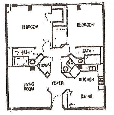 1,020 sq. ft. C floor plan