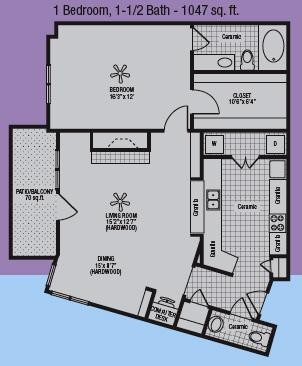977 sq. ft. to 1,047 sq. ft. E floor plan