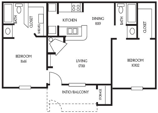 864 sq. ft. B5 floor plan