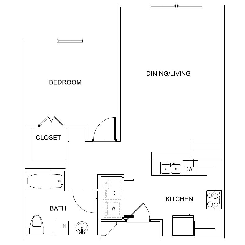 686 sq. ft. Bennett 60% floor plan
