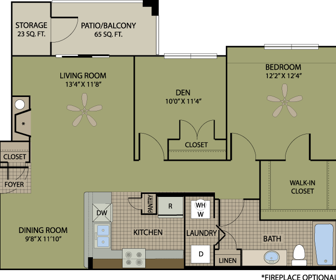 920 sq. ft. Cabernet floor plan