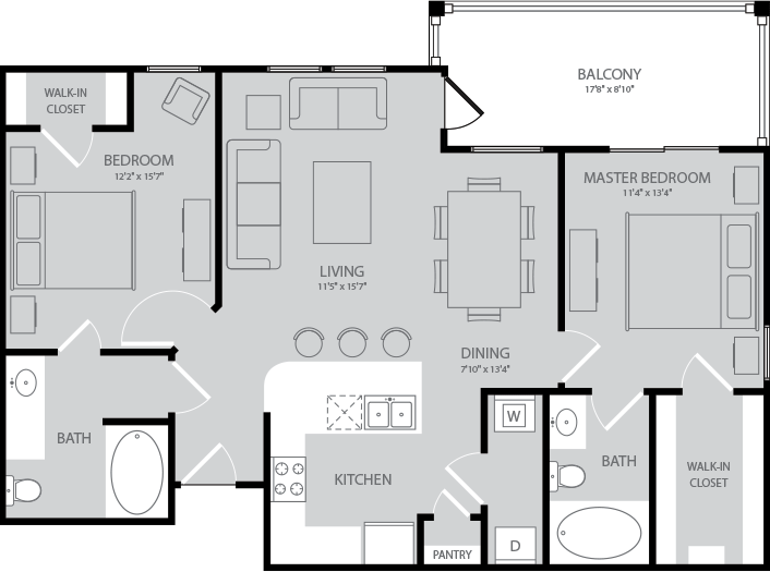 1,045 sq. ft. Fitzgerald floor plan