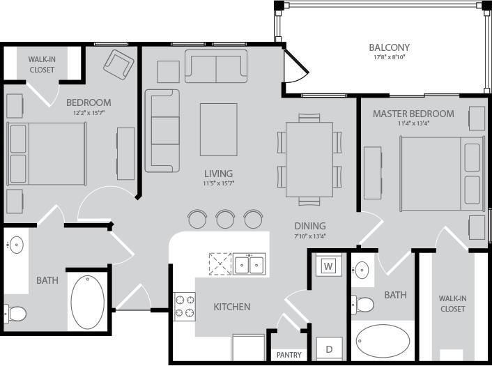 1,045 sq. ft. Fitzgerald floor plan