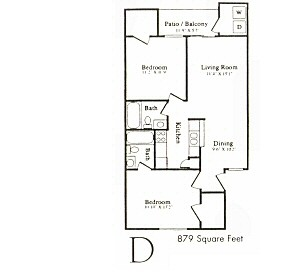 879 sq. ft. floor plan
