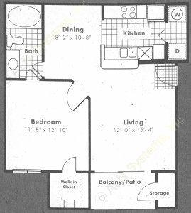 650 sq. ft. Burgundy floor plan