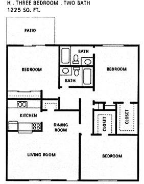 1,225 sq. ft. H floor plan
