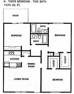 1,225 sq. ft. H floor plan