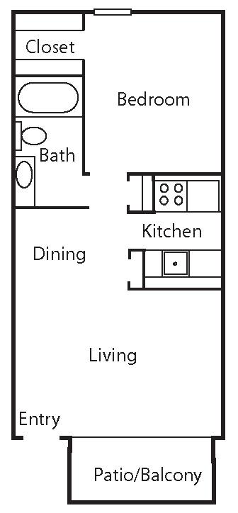 528 sq. ft. A2 floor plan
