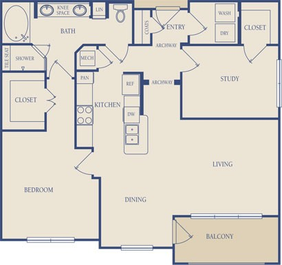 1,049 sq. ft. A4 floor plan