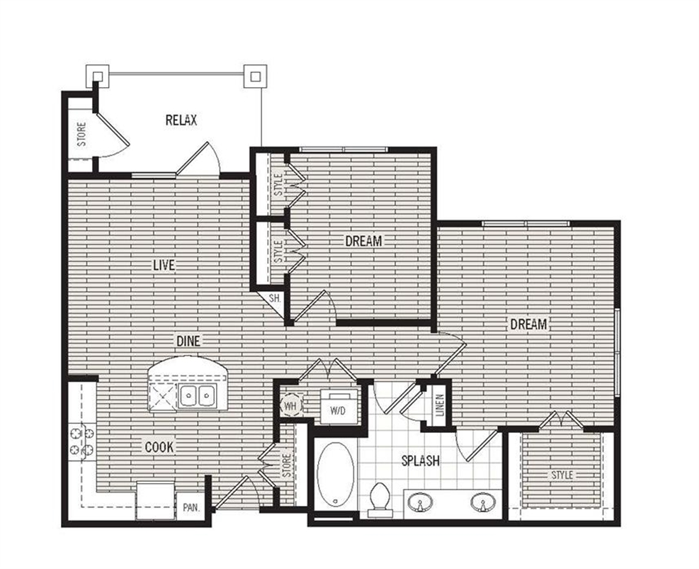884 sq. ft. B1 floor plan