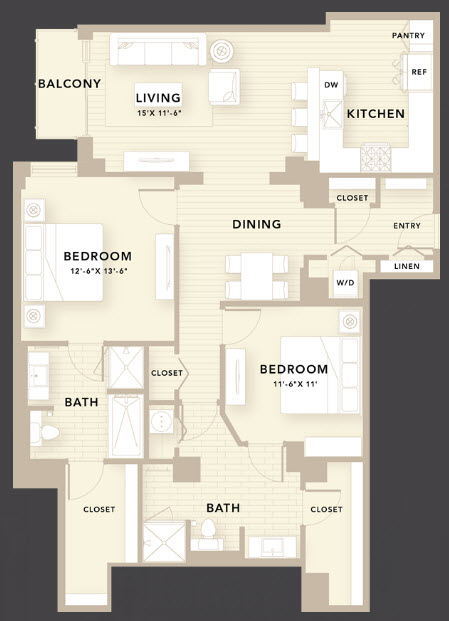 1,425 sq. ft. D3 floor plan