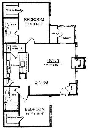 901 sq. ft. T4 floor plan