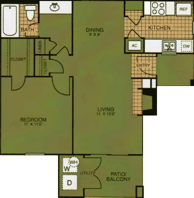 647 sq. ft. Aspen Spring floor plan