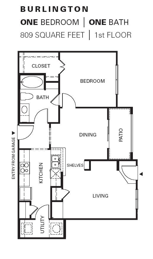 809 sq. ft. Burlington G floor plan