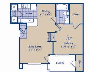 747 sq. ft. Fairfield floor plan