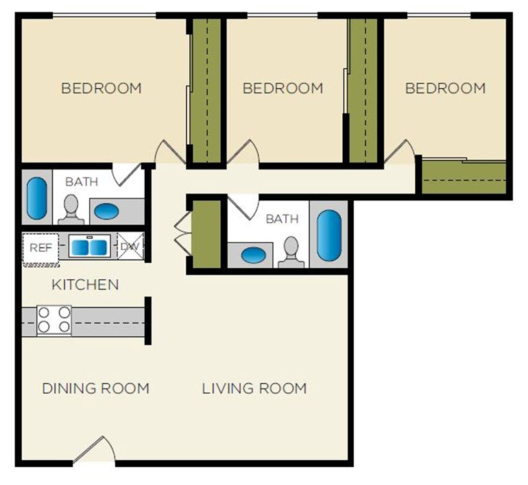 1,456 sq. ft. C-3 floor plan