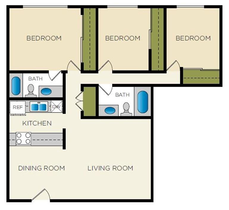 1,456 sq. ft. C-3 floor plan