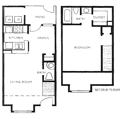 691 sq. ft. F floor plan
