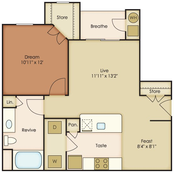 673 sq. ft. Tierra floor plan