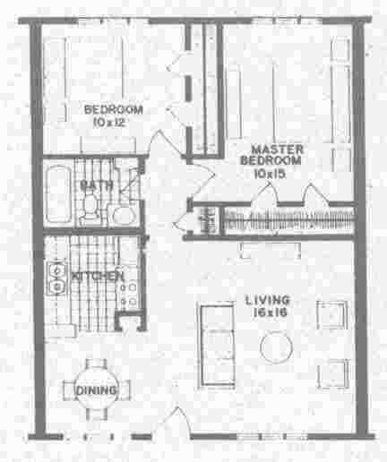 809 sq. ft. B2 floor plan