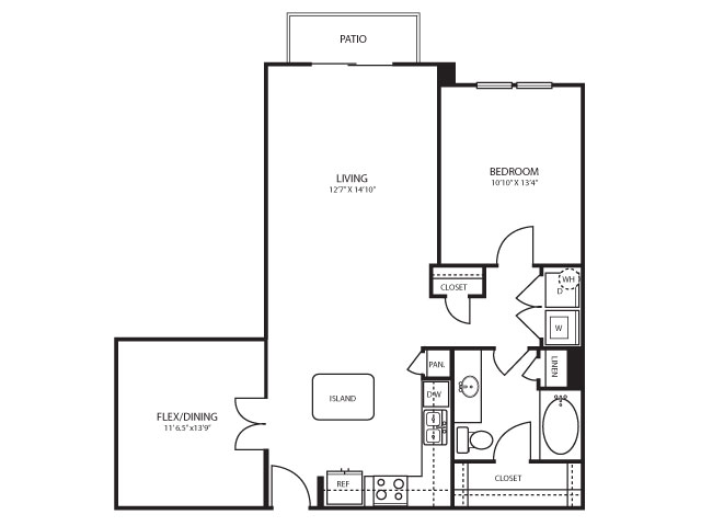 977 sq. ft. B1 floor plan