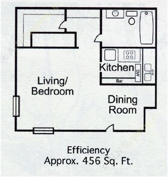 456 sq. ft. Studio-2 floor plan