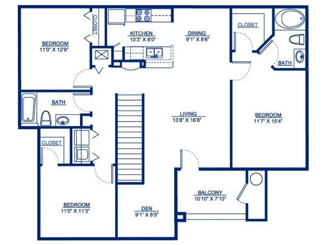 1,410 sq. ft. C1D floor plan