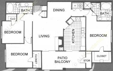 1,352 sq. ft. Touraine floor plan