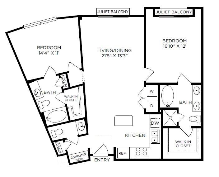 1,229 sq. ft. Mayfair floor plan