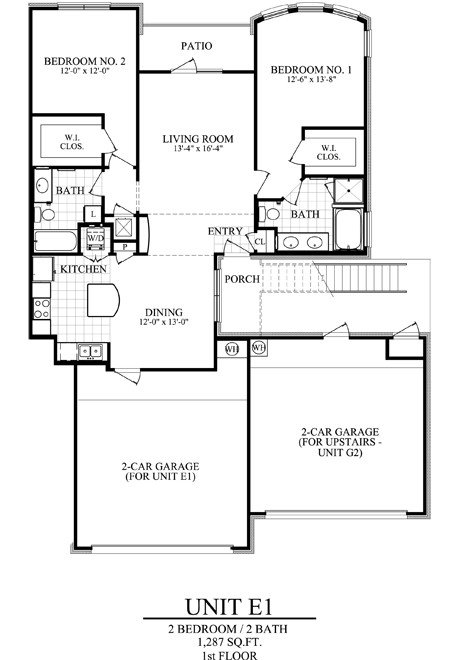 1,287 sq. ft. E1 floor plan