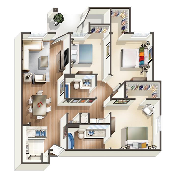1,242 sq. ft. C floor plan