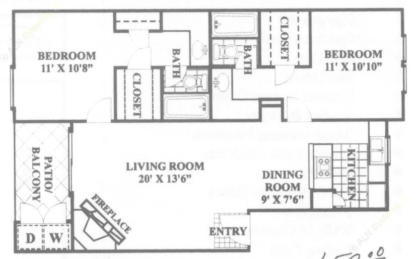 943 sq. ft. Esquire floor plan