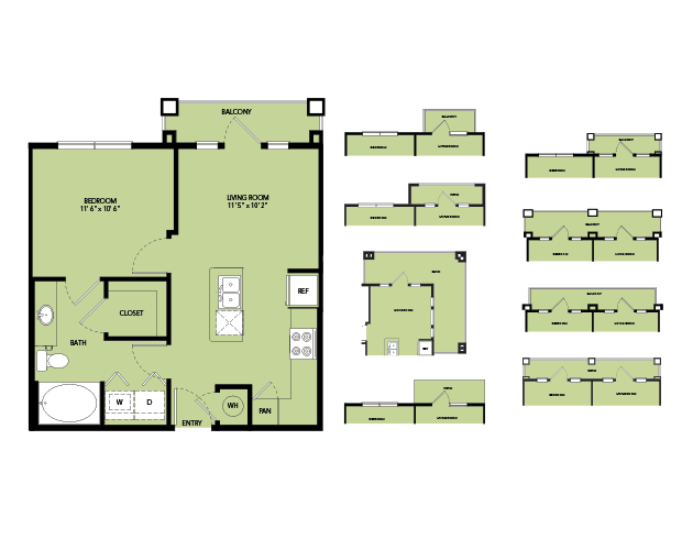561 sq. ft. A1.5 floor plan