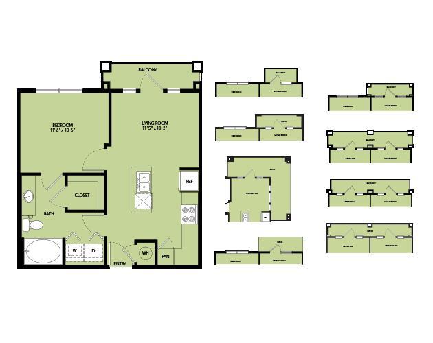 561 sq. ft. A1-S.6 floor plan