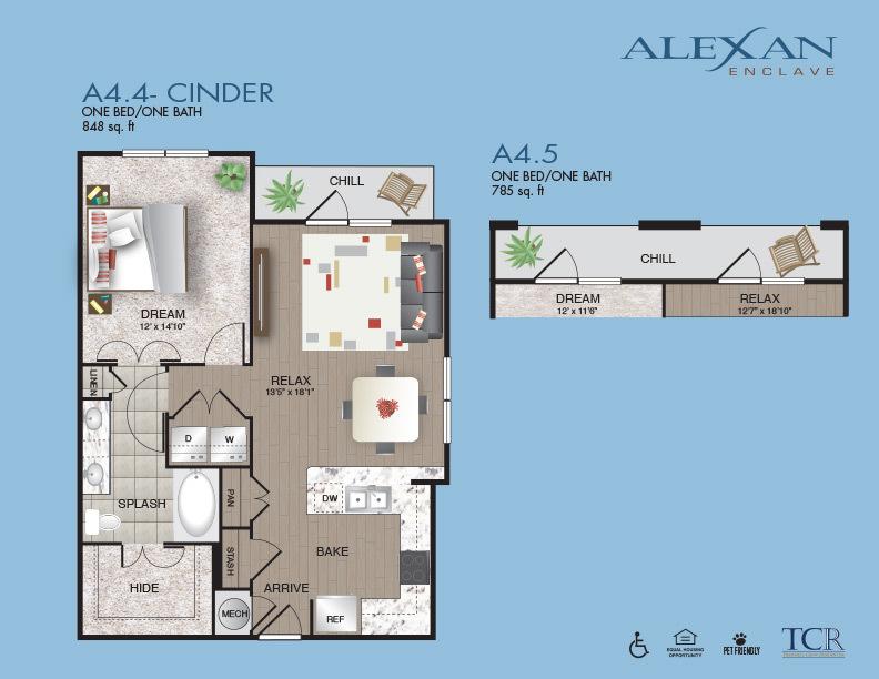 785 sq. ft. Cinder/ 2A4.5 floor plan