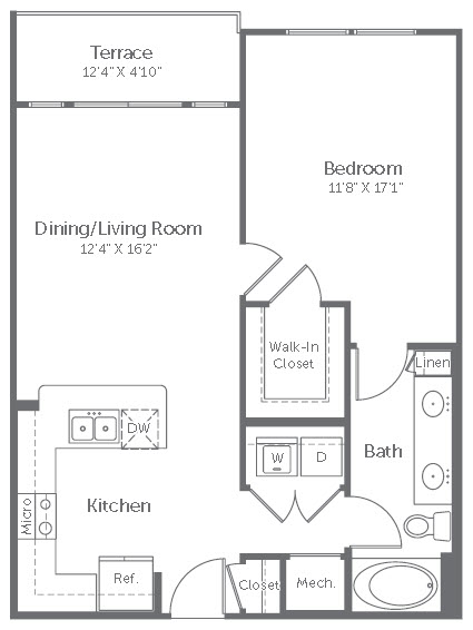 749 sq. ft. to 774 sq. ft. A2 floor plan