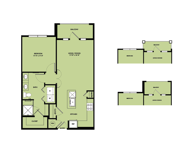 728 sq. ft. A3-S.3 floor plan