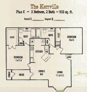 933 sq. ft. Kerrville floor plan