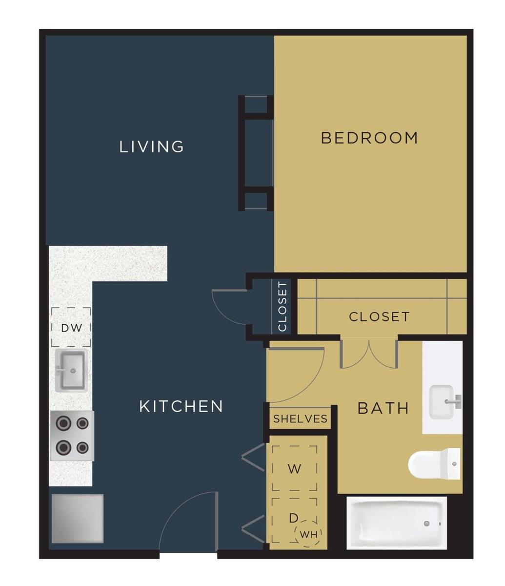 596 sq. ft. to 618 sq. ft. E2-B floor plan