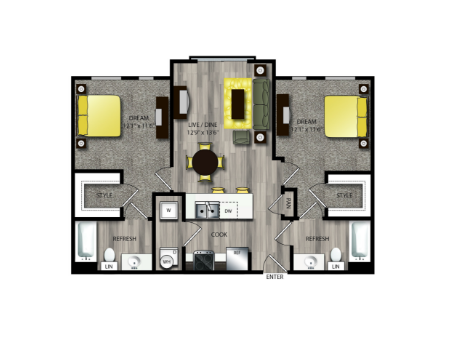 914 sq. ft. B1B floor plan