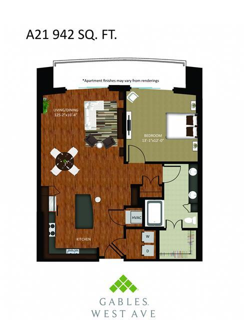942 sq. ft. DA21 floor plan