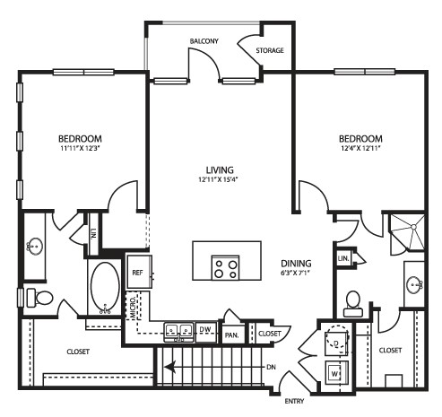 1,080 sq. ft. B1G floor plan