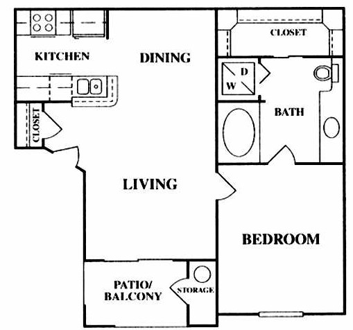 648 sq. ft. A1 floor plan