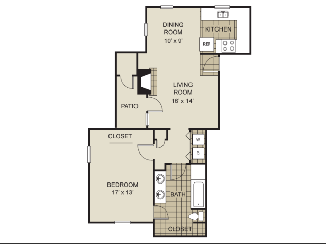 855 sq. ft. A6-B floor plan