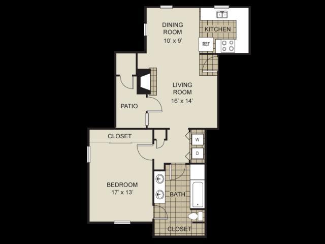 855 sq. ft. A6-B floor plan