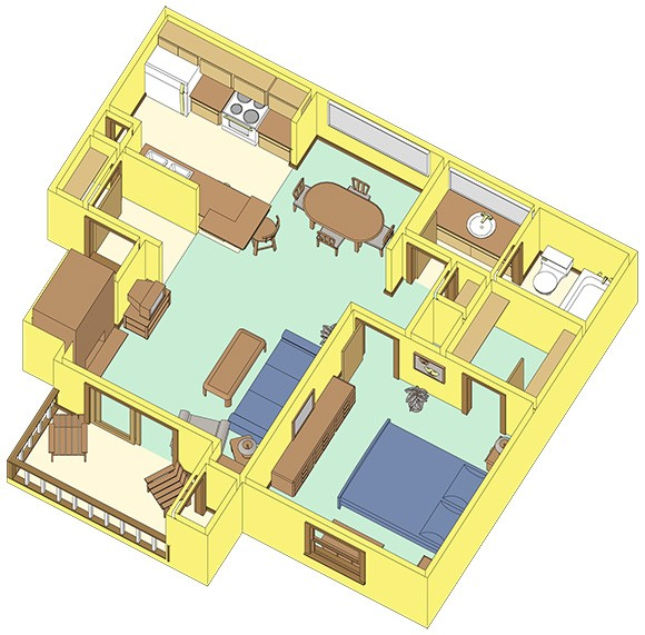 614 sq. ft. A2 floor plan