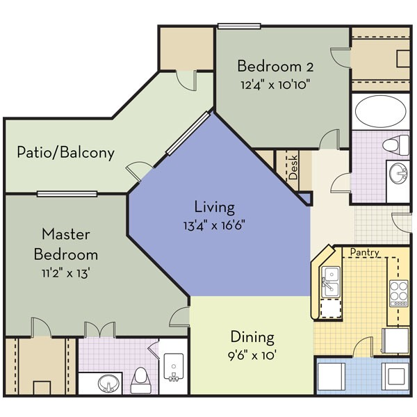1,134 sq. ft. Piedmont floor plan