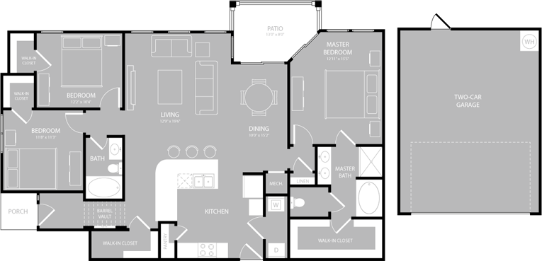 1,537 sq. ft. C1 floor plan
